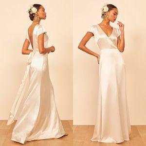 Reformation Geranium Dress Ivory Silk Bridal Wedding